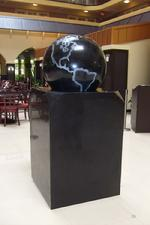 A square pedestal variation of our floating ball fountains