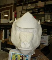 In progress sculpture of a baboon head