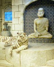 A monk statue made for the white tiger exhibit in Kemah, Texas