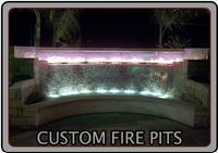 custom fire pits, fountains, and combination features are a theme designs specialty
