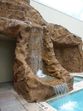 A fabulous hand-crafted faux rockwall and fountain for the Gaylord hotel