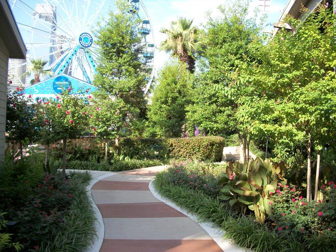 The Downtown Aquarium in Houston Texas has a lush garden of landscaping created by Theme Designs Studios.